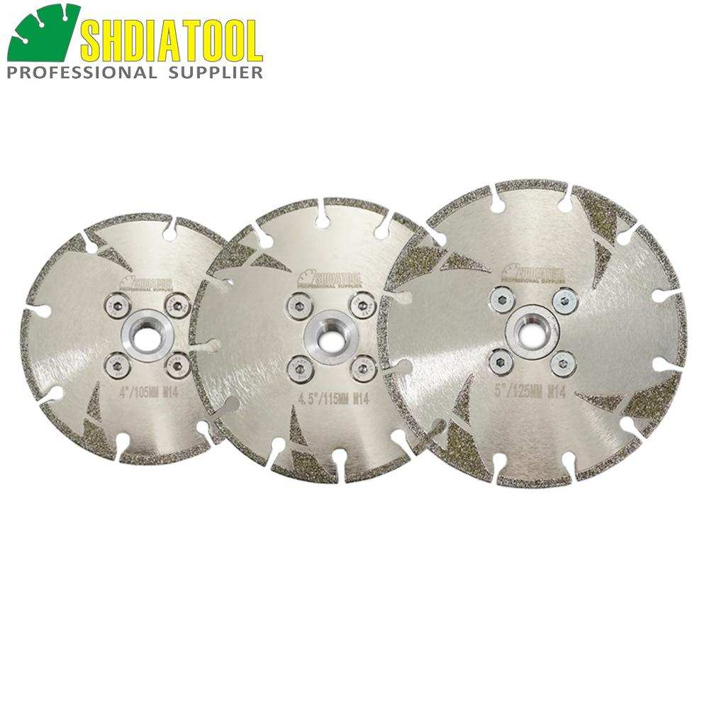 SHDIATOOL 1pc 105/115/125mm M14 Thread Electroplated Reinforced Diamond Cutting & Grinding Blade Diamond Disc Marble Sawblade