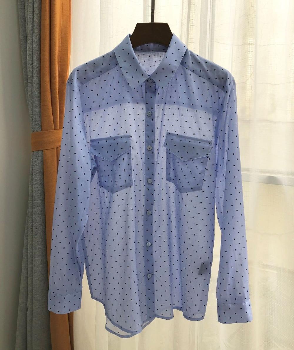 2020 New Women Cotton Polka Dot Print Blouse Light Blue Long Sleeve Double Pocket Shirt