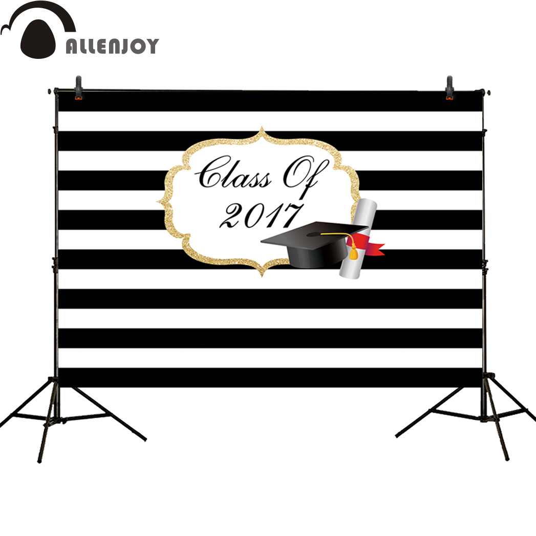 Allenjoy background photography graduation school Bachelor cap black and white stripes new backdrops photo studio photocall