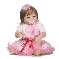 22 Full Silicone Reborn Baby Dolls Realistic Bebe Girl Reborn Pink Dress Rooted Smooth Hair Child