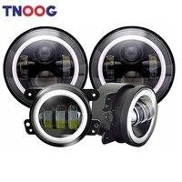7 LED Headlight With DRL Amber Turn Singal + 4 Black Halo Ring Fog Light For Unlimited Sahara JKU Rubicon Cruiser FJ JK TJ LJ