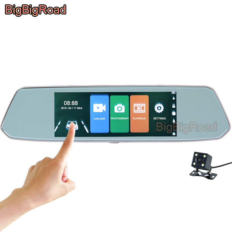 BigBigRoad Car DVR 7 Inch IPS Touch Screen Rear View Mirror For land rover discovery sport 2 3 4 freelander 1 2 defender evoque bigbigroad for land rover range rover freelander discovery defender evoque car obd2 ii windscreen projector hud head up display