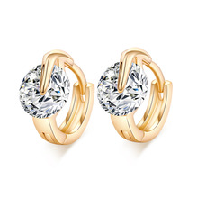 Crazy Feng  Gold-color Hoop Earring Jewelry Round Cut Zircon Crystal Women Earrings for Wedding Engagement Free Shipping