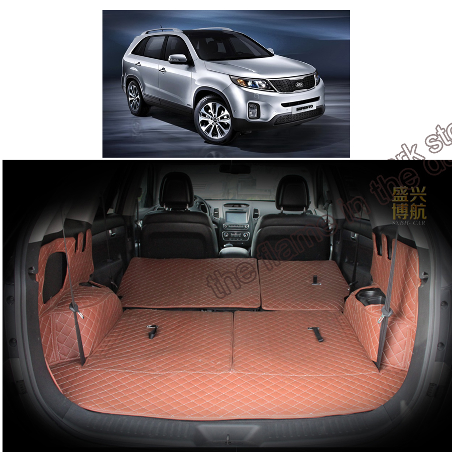 custom fit pu leather car trunk mat cargo mat for kia sorento 2009 2010 2011 2012 2013 2014 2015 2nd generation 3d cargo liner