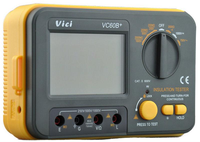 VICI VC60B+ Digital Insulation Resistance Tester Electronic Megger DC/AC 0.1~2000m ohm MegOhm Meter LCD Voltmeter DVM 1000V  цены
