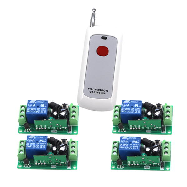New Type DC9V/12V/24V Wireless Remote Control Switch 4 Receiver Board & 1 Transmitter Remote Controller Learning Code RF Switch yt04 12v 4 channel remote switch 4 button remote control w learning code off white white