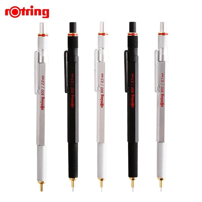 Rotring 800 0.5/0.7mm crayon mécanique en métal noir/argent crayon automatique dessin crayon d'écriture