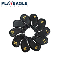 10 pcs/set 2018 New Thick PU Artificial Leather Gold Silver Color Golf Iron Head Cover Club Headcovers with Embroidery Number