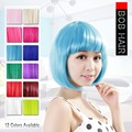 Neitsi Halloween Fashion Synthetic Hair Straight Short Wigs Cheap Full Lace Bob Wig Style Multi Color 10Colors For Cosplay/Party