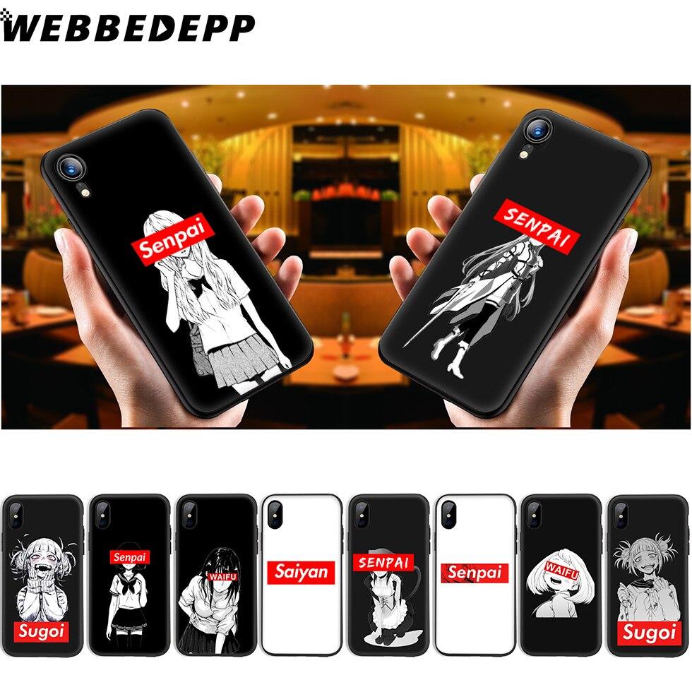 WEBBEDEPP Sugoi Senpai Anime waifu Soft Silicone Case for iPhone Xr Xs Max X or 10 8 7 6 6S Plus 5 5S SE Phone Case 8 Plus