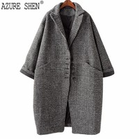 AZURE SHEN Loose Bat Sleeved Winter Coat Women 2018 Retro Casual Buttons Single Breasted Plaid