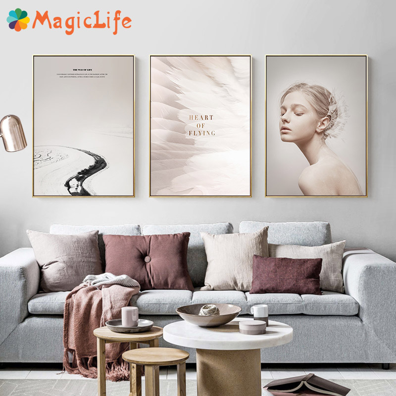 Hot Promo #91a4 - Moderne Plume Ange Blanc Mur Art Toile ...