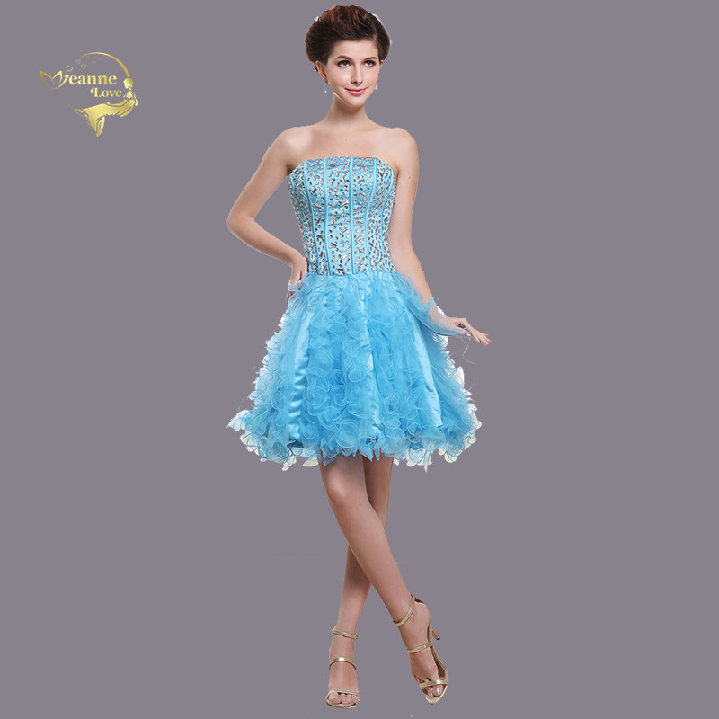Light Blue Ruffles Tulle   Cocktail     Dresses   Crystal Short Party Formal Prom Gowns Graduation   Dresses   2019 Special Occasion   Dresses