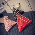 2016 Hot Ladies PU Leather Mini Clutch Bag Triangle Bag Fashion Rivet Chain Women Bag Purse Zongzi Shape bolsas Women Bag