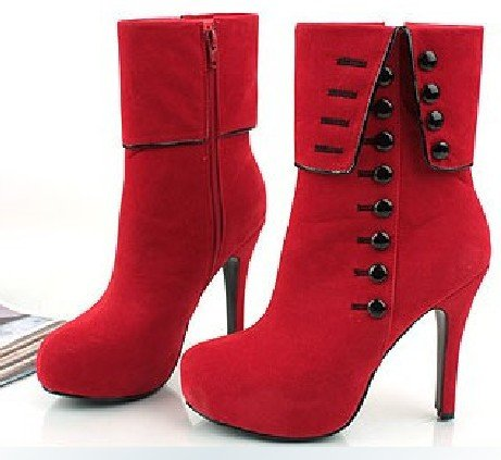 39b92c9af5e9 Free shipping Lady s sexy Button Suede High Heels Women Fashion stylish  Boots Platform designer ankle boots 2 color