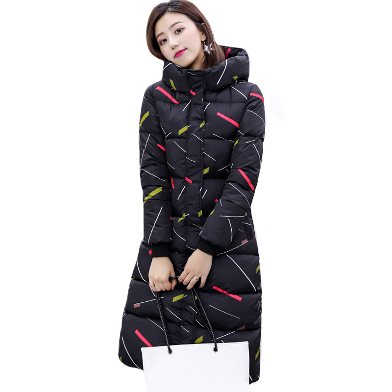 Hooded Winter Jacket Women Black White 2019 High Quality Womens Coat Long Parka Warm Thicken Outwear Camperas Mujer Invierno