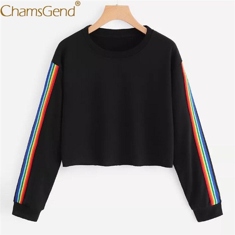 Free Shipping Women Rainbow Striped Sweatshirts Women Black Tops Round Neck Long Sleeve Shirts Crop Top 80809 sweatshirt