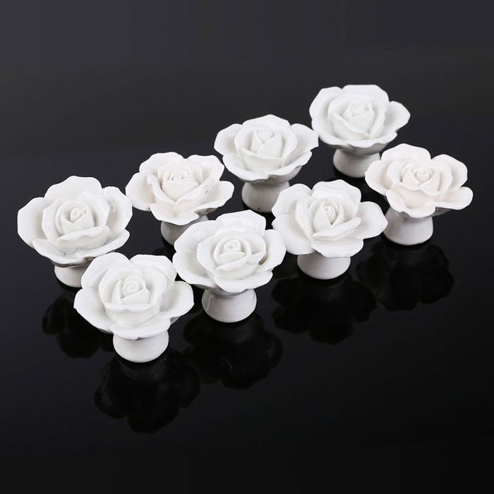Rose Flower Knob Ceramic Kitchen Furniture Cabinet Cupboard Handle Pull White Rose Design Porcelain Drawer Knobs for Kids Room multi color flower rose ceramic kitchen cupboard cabinet door knob kid s room wardrobe drawer pull handle knob