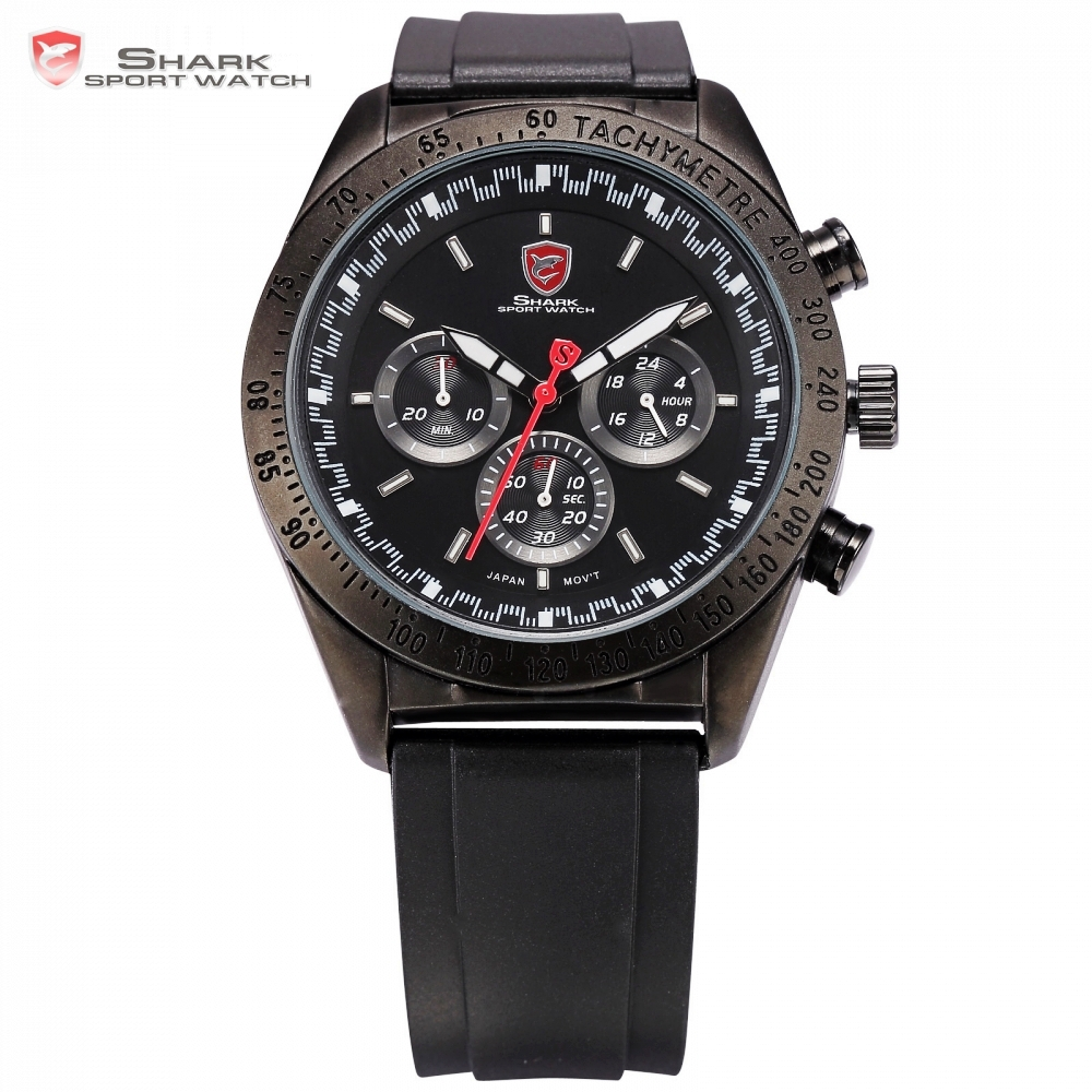 Swell SHARK Sport Watch Luxury 3 Dial 24Hrs Black Dial Luminous Hands Rubber Strap Military Outdoor Men Timepiece Watches /SH272