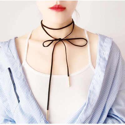 קולר שרשראות לנשים קטיפה רצועת חלול פרח קצר עצם הבריח Collares תכשיטים גותי Steampunk 2019