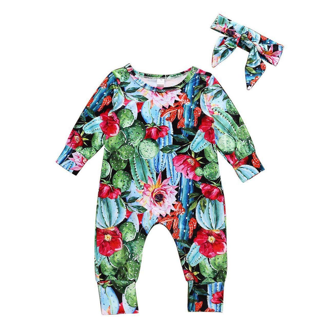 Newborn Baby Girls Romper Jumpsuit Bodysuit Infant Headband Clothes Outfits Set