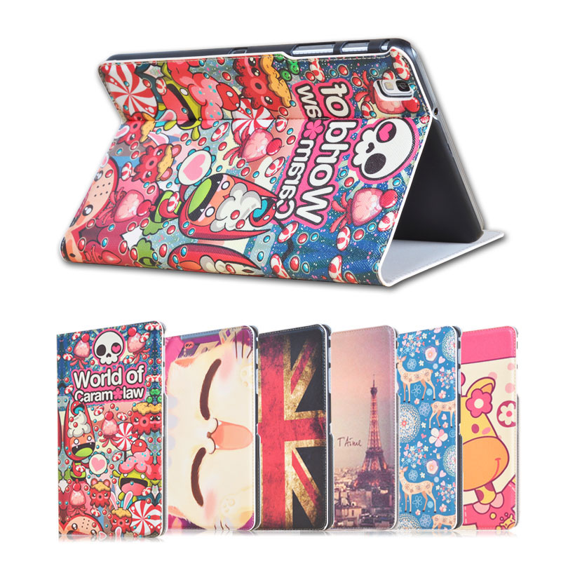 Fashion painted Pu leather stand holder Cover Case For Samsung Galaxy Tab Pro SM-T320 T321 T325 8.4 inch Tablet + Gift metal ring holder combo phone bag luxury shockproof case for samsung galaxy note 8
