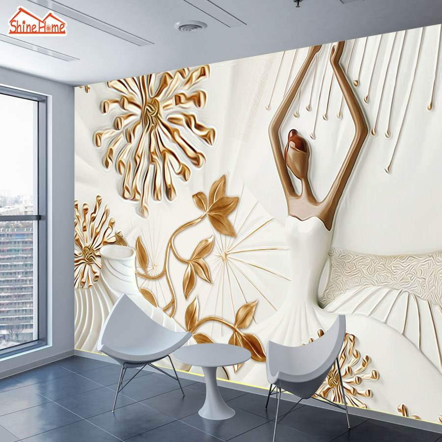 ShineHome-Custom Photo Wallpapers for Walls 3d Embossed Dancing Girl Mural Rolls 3 d Living Room Abstract Wall Paper Home Decor shinehome graffiti embossed brick wallpaper roll for walls 3d cafe mural wallpapers for 3 d wall living room mural wall paper