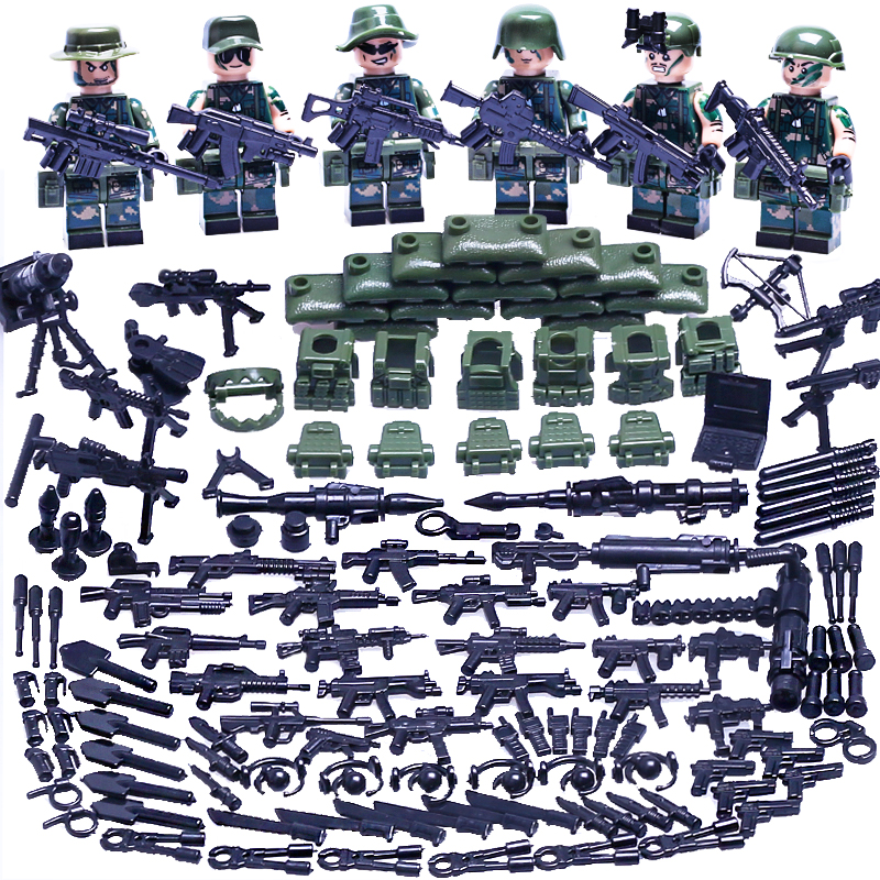 Compatible with LEGOE China Army Special Field Commando Weapons Library Module Normandy Armed Forces Weapon Bricks Gift 6PCS