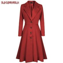 RAISEVERN Women Elegant Blends Warm Blends Long Winter Coat Turn-down Collar Single Breasted Coats Women Office Work Swing Blend