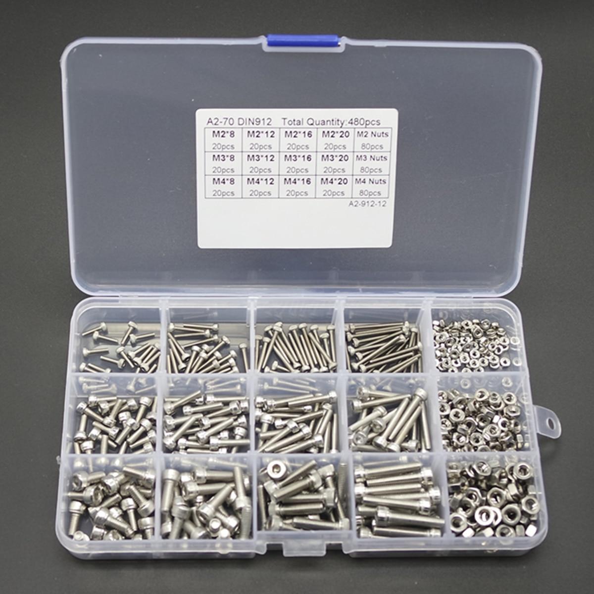 480pcs New Hex Socket Screws M2 M3 M4 Stainless Steel Head Cap Screw Nut Set With Box