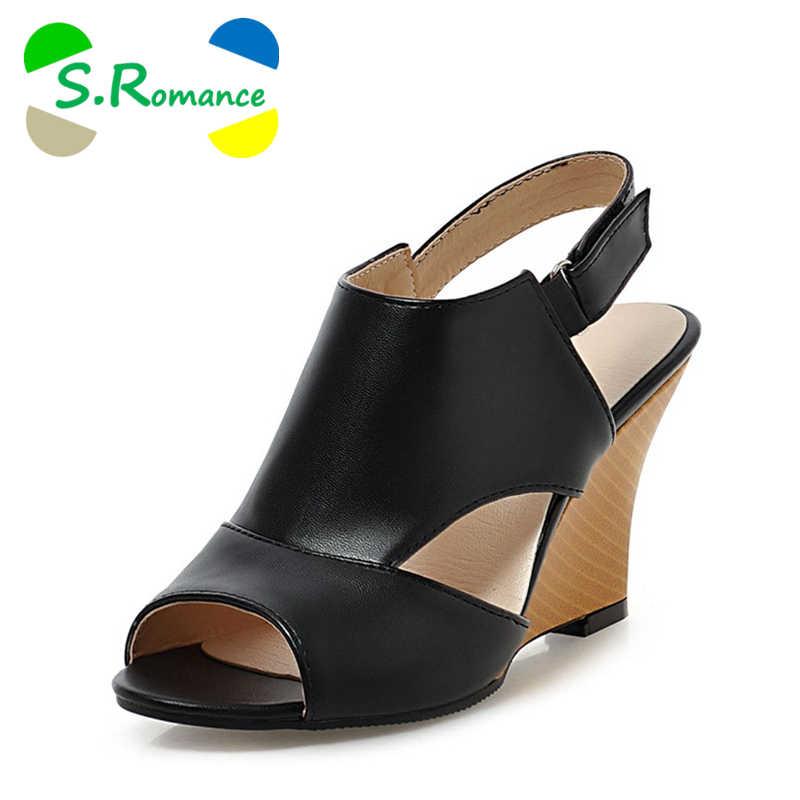 302751d5789b2 S.Romance Plus Size 34-43 Women Sandals New Fashion Gladiator High Heel  Office
