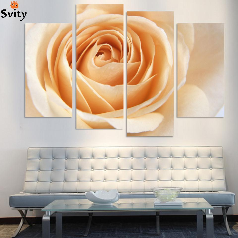 Wholesale 4 Pcs/Set Combined Flower Paintings Purple Rose Modern Wall Painting Canvas Wall Art Picture Unframed Canvas Painting