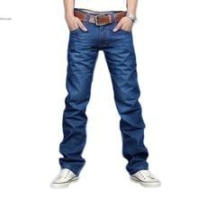 Корея мужские Джинсы Slim Fit Классические Брюки Прямой Ногой Синие джинсы Размер 30 ~ 34 Новый 12