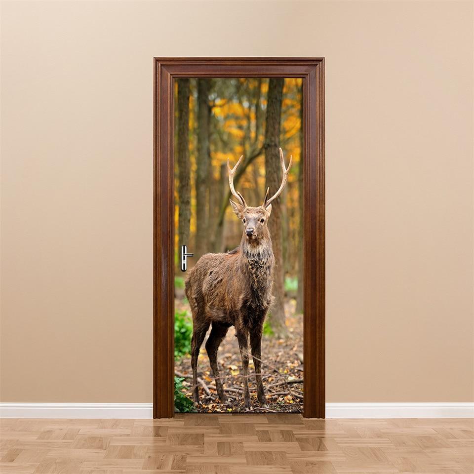 3D Imitation Elk Forest Door Stickers For Bedroom Living Room Creative Removable Decor Decal Waterproof Self Adhesive Wallpaper