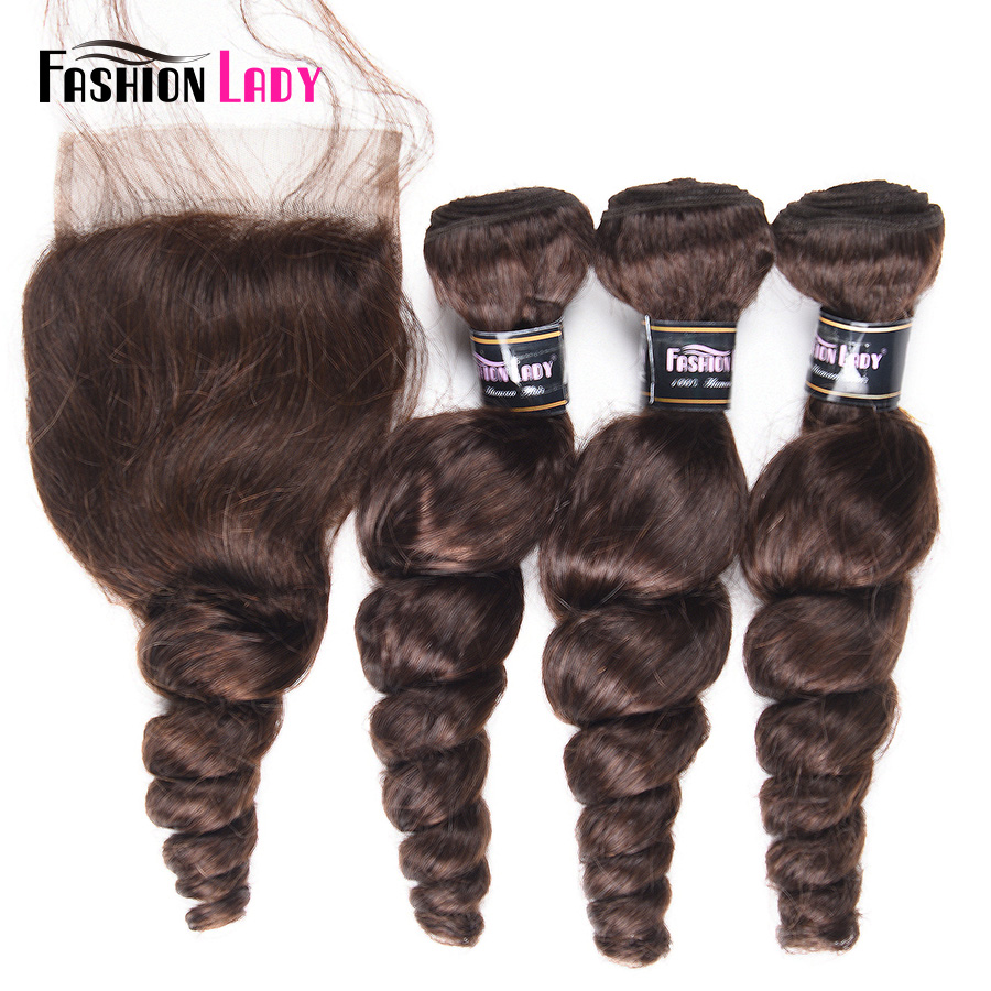 Fashion Lady Pre-Colored Brazilian Loose Wave Bundles With Closure 3 Bundles 2# Dark Brown Bundles With Closure Non-Remy