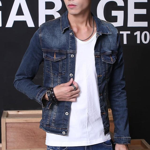 2018 England Style New Men S Denim Jacket Men Biker Jeans Jacket Top