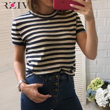 RZIV 2018 autumn female top casual striped T-shirt round neck short sleeve knit thin T-shirt