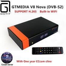 Receptor de satélite GTMEDIA V8 DVB-S2 com 1 Ano de Nova Europa Cccam 4 clines Full HD 1080 P Suporte H.265 Espanha Francês REINO UNIDO alemanha