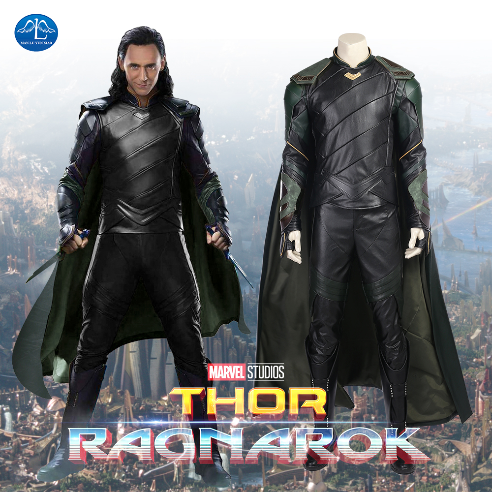 Thor Ragnarok Loki Cosplay Costume Adult Halloween Costumes For Men Thor Loki Full Set With Boots Custom Made Loki Costume