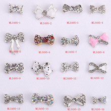 wholesale 100PCS/Lot nail accessories rhinestone bowknot 3d art Alloy 3D Nail Art Decoration, nails decal Charms,3495-1-16