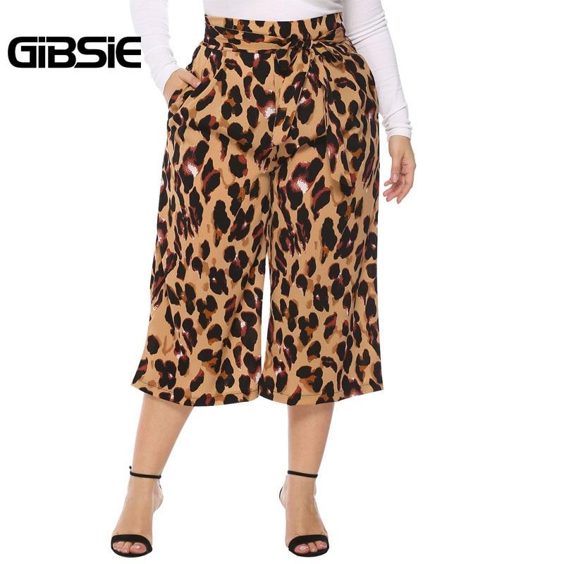 GIBSIE xxxl 4xl Leopard print Wide Leg   Pants   Summer Women Elegant Belted High Waist   Pants   Casual   Capris   Plus Size Trousers