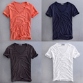 Quality Breathable Cotton Summer Ultra Thin Loose Deep V neck Tshirt Linen t shirt Underwear Men Short Sleeve White Black Orange
