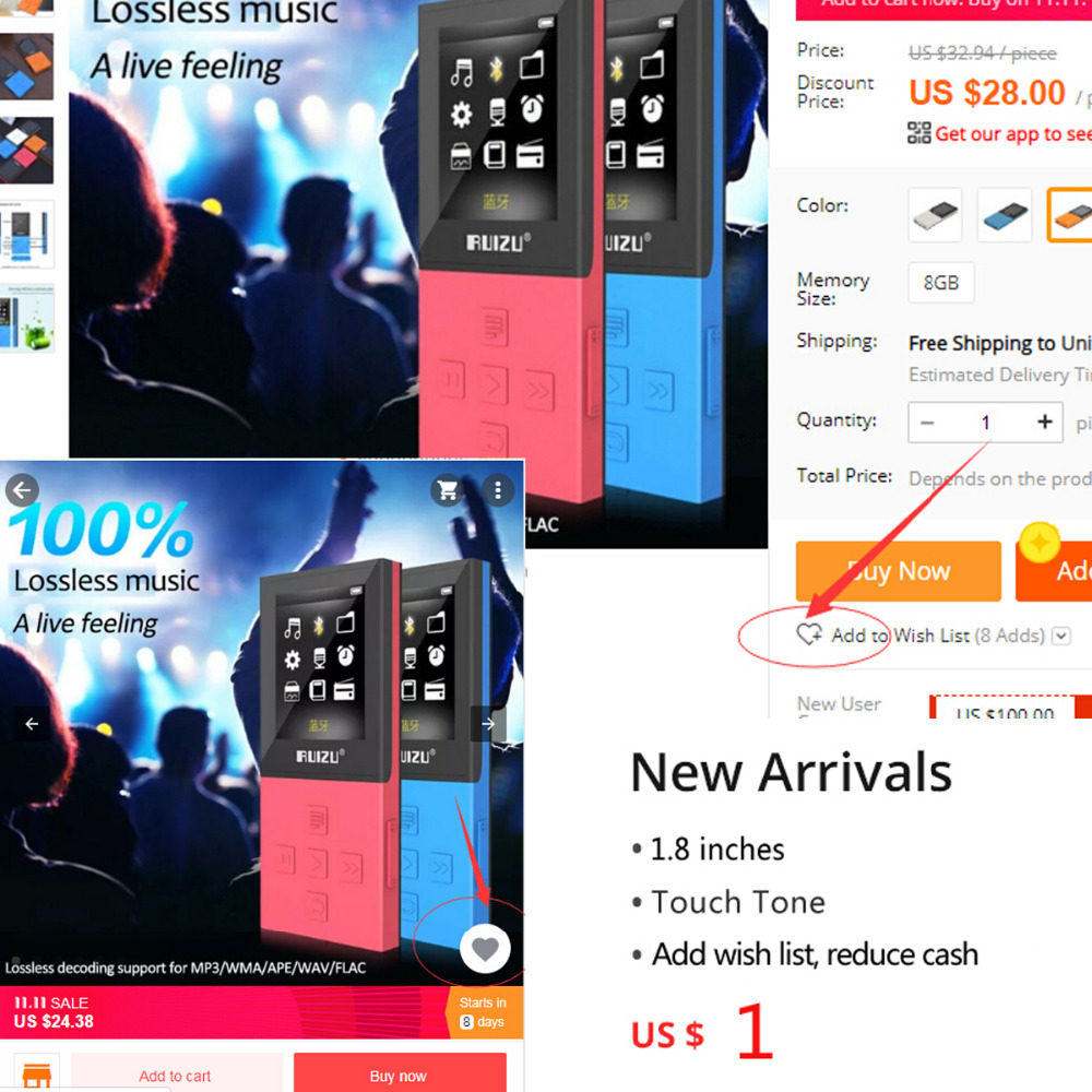 Lecteur mp3 RUIZU X18 lecteur de musique MP3 enregistreur Bluetooth FM WMA WAV APE FLAC AVI prise en charge carte MicroSD à 64 go écran couleur - 6