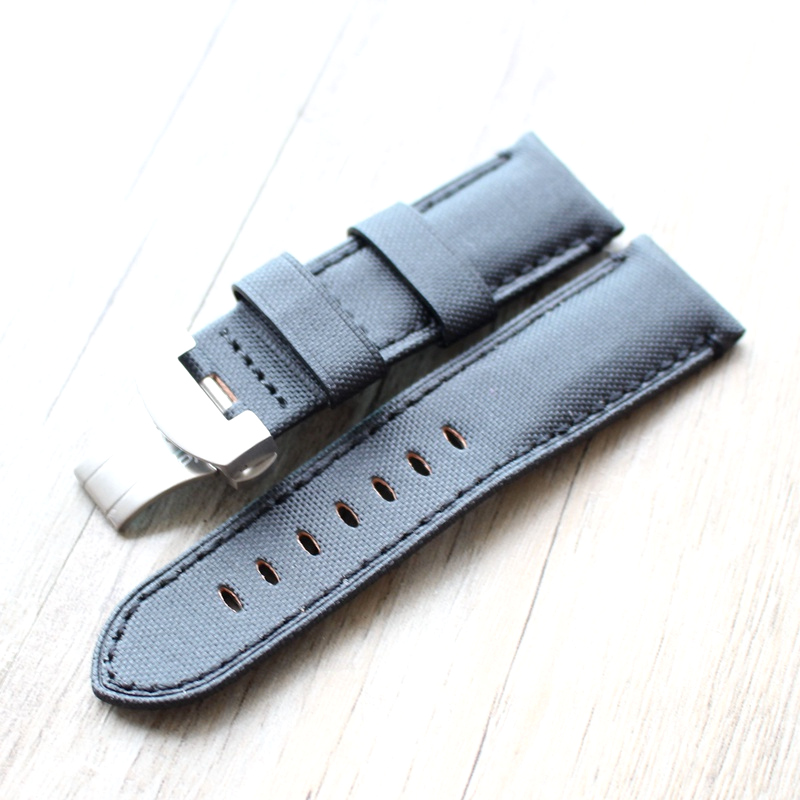 MERJUST Top Brand 24mm Black Leather With Nylon Watch Band Strap Belt For <font><b>PAM</b></font> <font><b>Bracelet</b></font> image