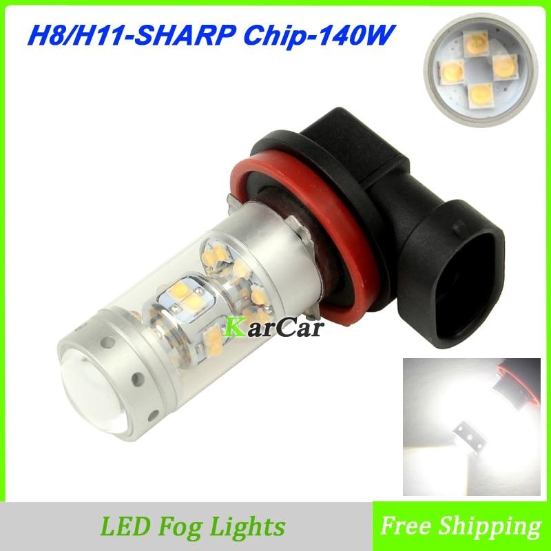 2x New Arrivals 140W 1200LM SHARP Chip H11 LED Bulb H8 Universal Daytime Running Lights 12V