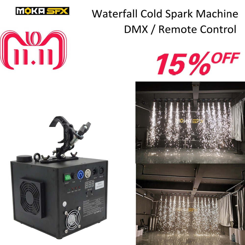 1pcs Waterfall Cold Spark Machine Cold Spark Fireworks Machine DMX Wireless Remote Control for Wedding Nightclub Stage Party dhl shipping battery working cold fireworks machine console dmx wireless 2 4g usb led lamp speed fireworks spary shape button