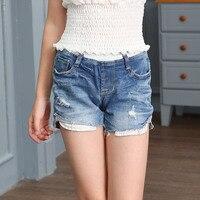 New Pattern Summer Wear Trend Korean Girl Child Tight All-match Half Tendon Waist Fashion Cowboy Kids Shorts