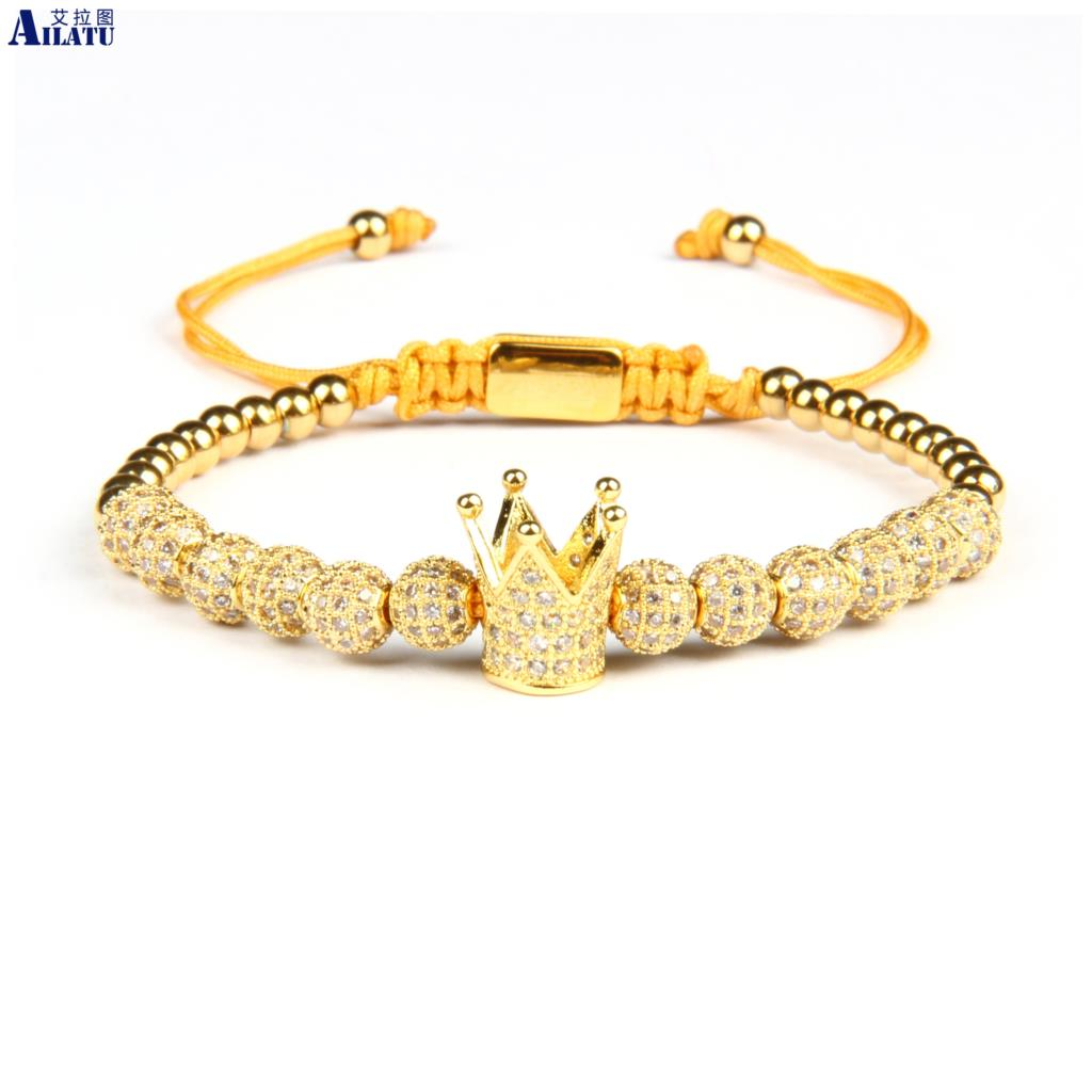 Ailatu Luxury Crown Braiding Bracelet Wholesale 6mm Cz Ball Beads Stainless Steel Jewelry Top Quality