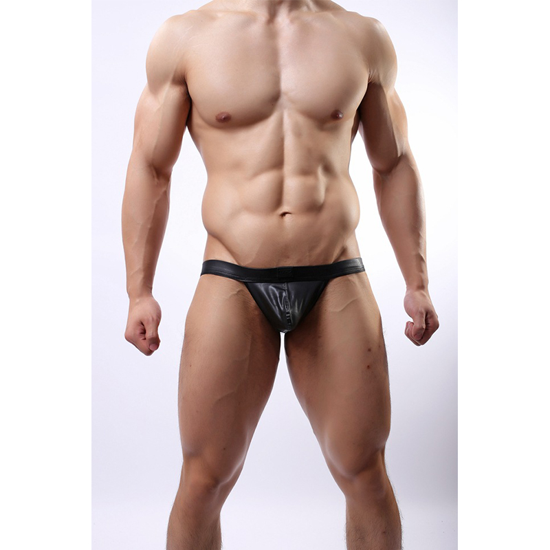 Men's Faux Leather Bondage Briefs Underwear Black Sexy Jockstrap Wrapped Penis Pocket Open Butt Thongs Erotic Gay Male Lingerie