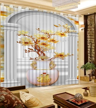 Magnolia curtains photo Blackout Window Drapes Luxury 3D Curtains For Living room Bed room Office Hotel Home